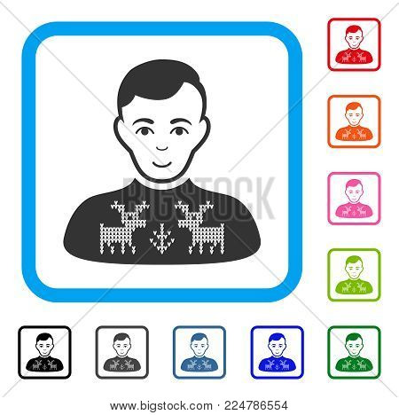 Cheerful Deers Pullover Boy vector pictograph. Person face has happy mood. Black, gray, green, blue, red, pink color versions of deers pullover boy symbol in a rounded square.