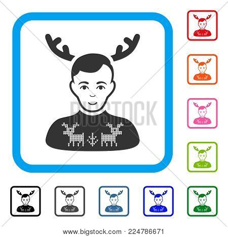 Enjoy Deers Pullover Horned Husband vector pictograph. Person face has joyful expression. Black, grey, green, blue, red, poster