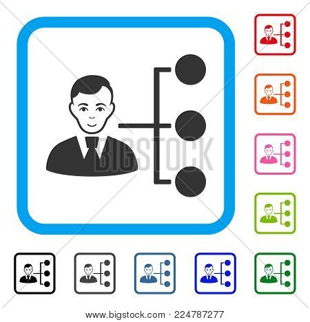 Joyful Distribution Manager vector pictogram. Person face has joyful emotions. Black, grey, green, blue, red, pink color versions of distribution manager symbol inside a rounded square.