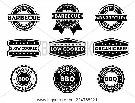Vector Stamp Badge Label For Marketing Selling Barbecue Product, Premium Beef, Slow Low Cooked, Orga