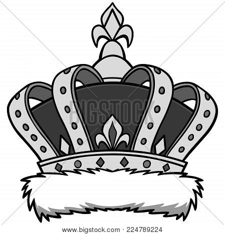 Crown Illustration - A vector cartoon illustration of a king's Crown.