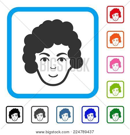 Happiness Hairstyle Head vector icon. Human face has enjoy expression. Black, gray, green, blue, red, orange color additional versions of hairstyle head symbol inside a rounded frame.