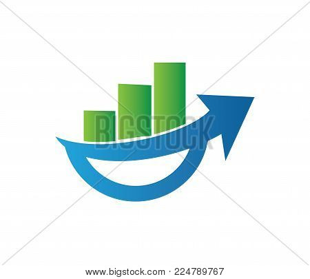 Vector Logo Design Info Graphic Of Line Bar Chart Of Financial Or Stock Exchange, Increase Profit In