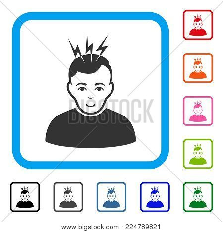Enjoy Headache vector icon. Person face has enjoy expression. Black, grey, green, blue, red, pink color variants of headache symbol inside a rounded rectangle.