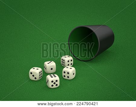 Dice game with dice cup on green table. Combination of dice - Three Of A Kind. 3D rendering