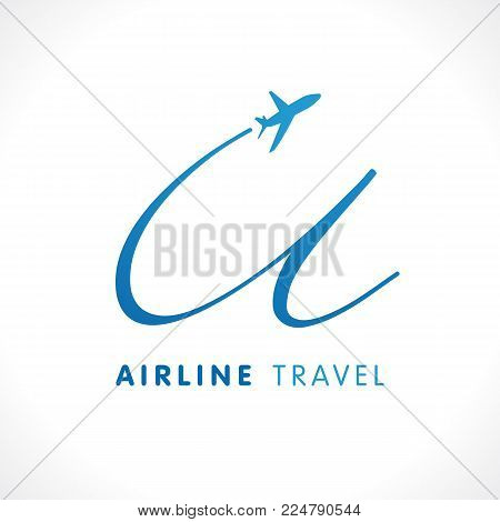 U letter transport travel company logo. Airline business travel symbol design with letter