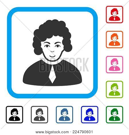 Cheerful Judge vector icon. Human face has enjoy emotion. Black, grey, green, blue, red, orange color versions of judge symbol in a rounded squared frame.