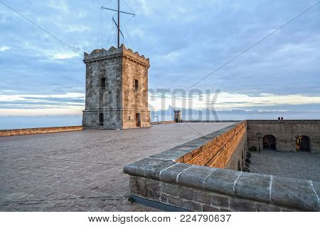 Barcelona,spain-december 15,2016:castle Of Montjuic, On Top Of Park Montjuic, Barcelona.