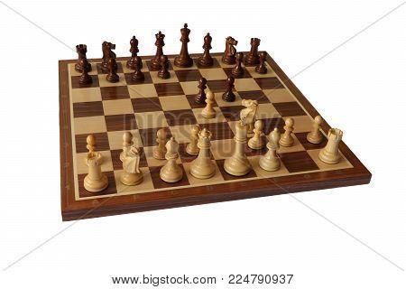 Photo of chess opening on white background. Latvian Gambit.