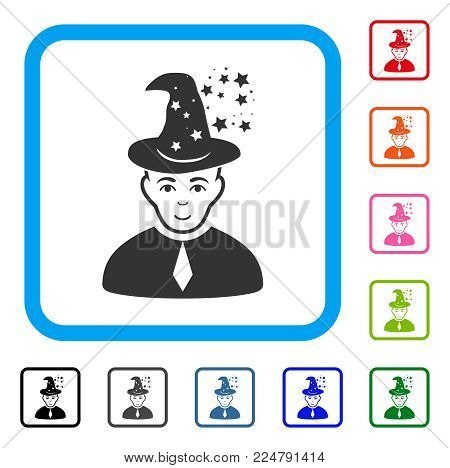 Joyful Magic Master vector pictograph. Human face has gladness emotion. Black, gray, green, blue, red, orange color variants of magic master symbol in a rounded rectangular frame.
