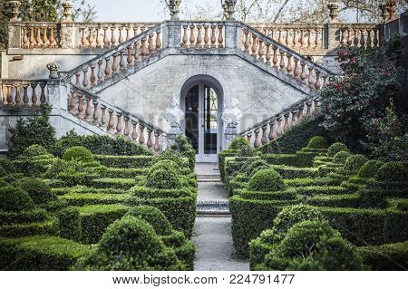 Barcelona,spain-march 15,2017:park And Garden Labyrinth,parc Laberint Horta,barcelona.park And Garde