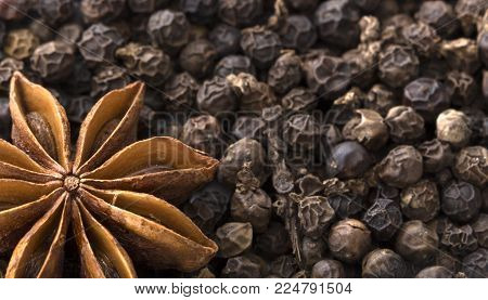 star anise and black pepper close up