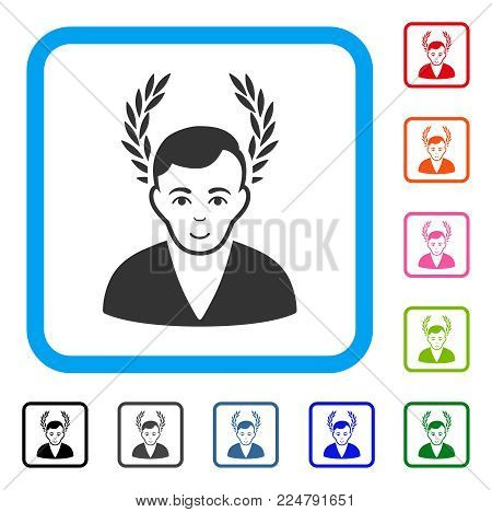 Enjoy Man Glory vector icon. Person face has positive emotions. Black, gray, green, blue, red, orange color variants of man glory symbol inside a rounded rectangular frame.