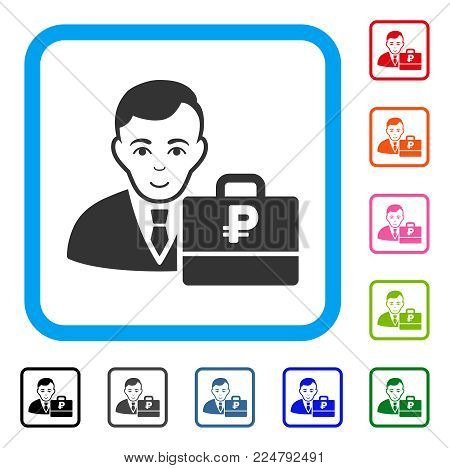 Glad Rouble Accounter vector pictograph. Human face has enjoy sentiment. Black, gray, green, blue, red, orange color additional versions of rouble accounter symbol inside a rounded rectangle.