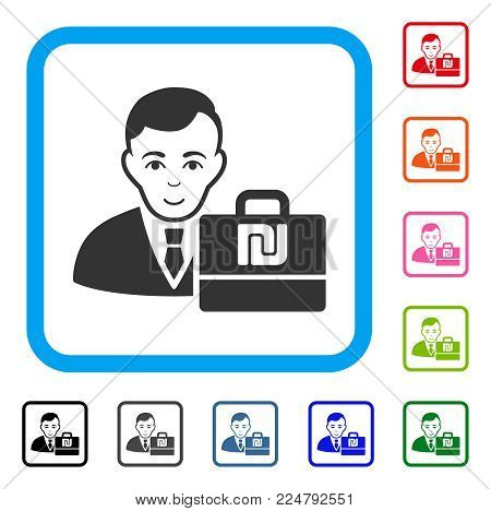 Enjoy Shekel Accounter vector pictograph. Person face has smiling sentiment. Black, gray, green, blue, red, pink color additional versions of shekel accounter symbol in a rounded rectangle.