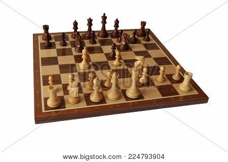 Photo of chess opening on white background. Two Knights Defence.