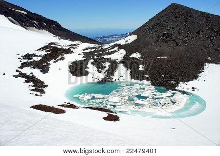 a partially frozen mountain lake