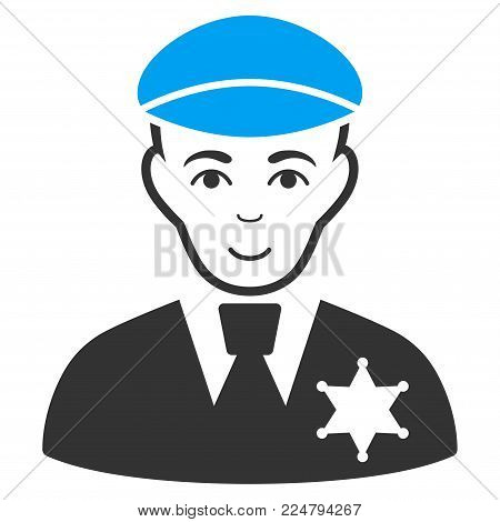 Sheriff vector pictograph. Flat bicolor pictogram designed with blue and gray. Human face has enjoy sentiment.