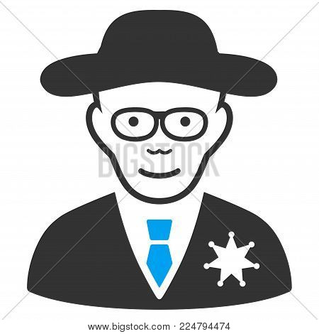 Sheriff vector pictogram. Flat bicolor pictogram designed with blue and gray. Person face has joy expression.