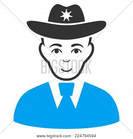 Sheriff vector pictograph. Flat bicolor pictogram designed with blue and gray. Person face has joyful feeling.