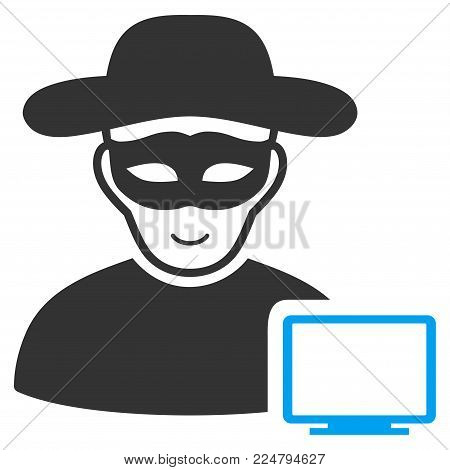Computer Hacker vector pictograph. Flat bicolor pictogram designed with blue and gray. Person face has joyful sentiment.