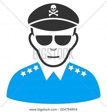 Evil Army General vector pictograph. Flat bicolor pictogram designed with blue and gray. Human face has gladness mood.