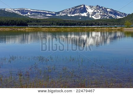 snowcapped peak reflected in a mountain lake