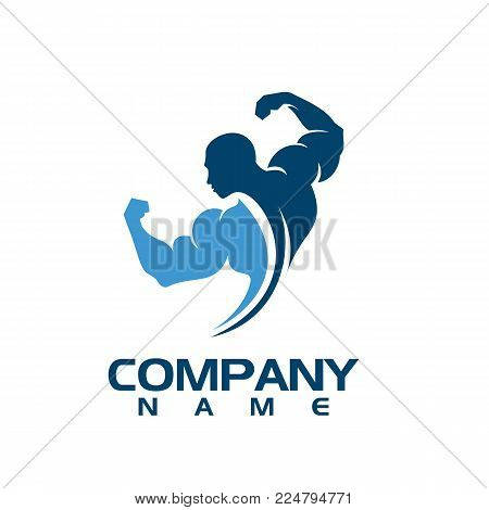 Bodybuilder Logo Template. Vector object and Icons for Sport Label, Gym Badge, Fitness Logo Design, Emblem Graphics.Sport Symbol, Exercise Logo, Woman Holding Weight Silhouette.