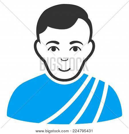 Patrician Citizen vector pictogram. Flat bicolor pictogram designed with blue and gray. Human face has positive sentiment.