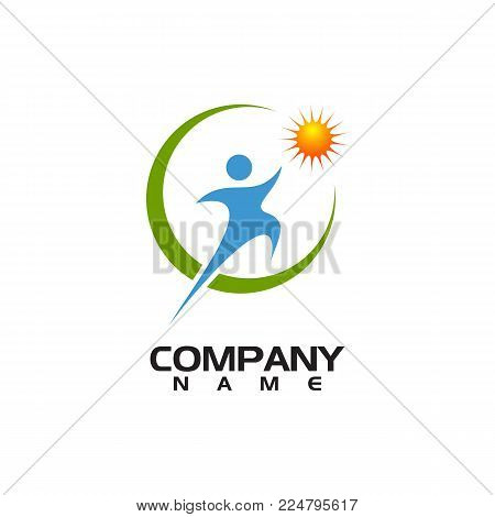 Human character vector logo concept illustration. Abstract man figure logo. People logo. Human icon. People icon. Man icon. Fitness logo. Sport logo. Positive logo. Health logo. Healthcare logo.