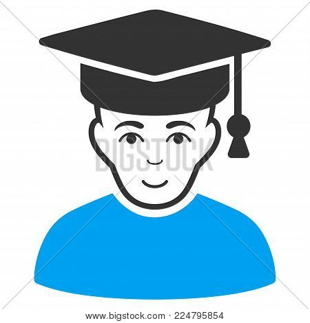 Professor vector icon. Flat bicolor pictogram designed with blue and gray. Person face has happiness mood.