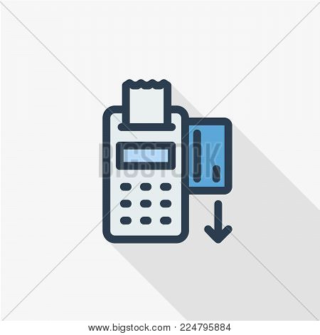 POS terminals with approved, receipts, inserted credit cards. Tick and rejected on displays. Checkout, terminal payment, pay with credit card icon. Flat design graphic elements. Vector.