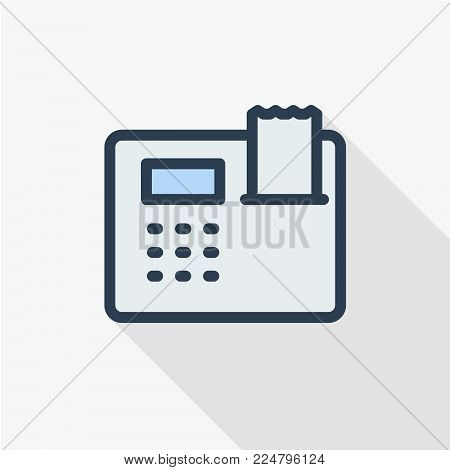 cash register thin line flat color icon. Linear vector illustration. Pictogram isolated on white background. Colorful long shadow design.