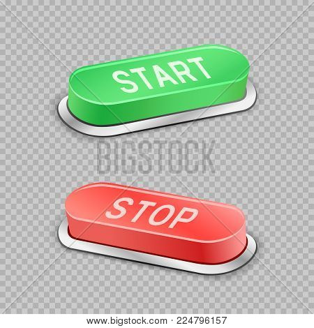 Start and stop large buttons with shadow on transparent background