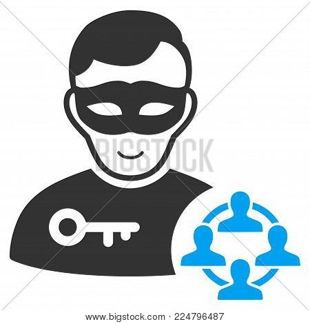 Social Hacker vector pictogram. Flat bicolor pictogram designed with blue and gray. Person face has joyful sentiment.