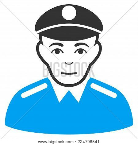 Soldier vector icon. Flat bicolor pictogram designed with blue and gray. Human face has happy expression.