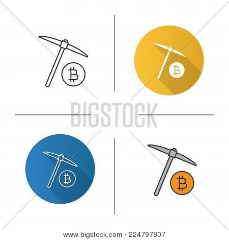 Navvy pick with bitcoin sign icon. Flat design, linear and color styles. Cryptocurrency mining. Isolated vector illustrations