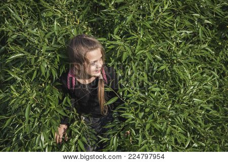 child girl playing hide-and-seek outdoors by sunny day
