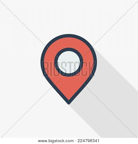 Navigation, location marker, cursor thin line flat color icon. Linear vector illustration. Pictogram isolated on white background. Colorful long shadow design.