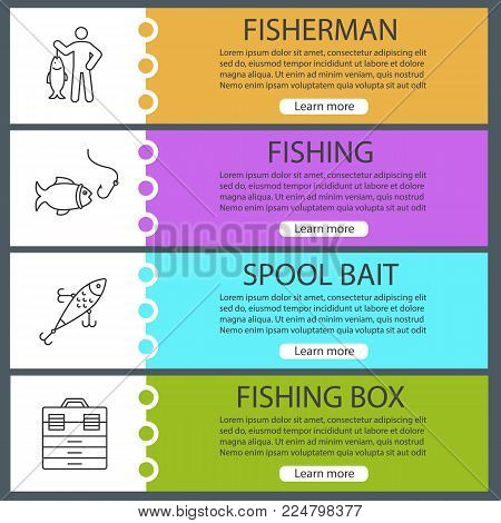 Fishing web banner templates set. Fisherman, lure, fish and hook, tackle box. Website menu items. Vector headers design concepts