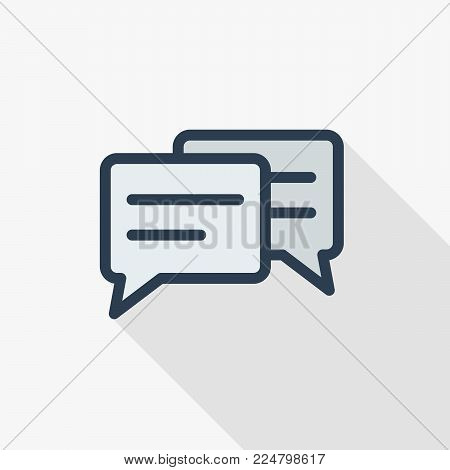 message, chat, speech bubble, talk, dialog thin line flat color icon. Linear vector illustration. Pictogram isolated on white background. Colorful long shadow design.