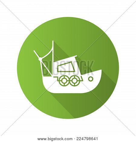 Fisher boat flat design long shadow glyph icon. Coble. Yacht. Vector silhouette illustration