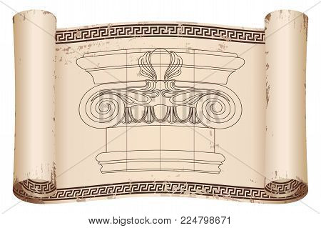 Ancient Greek papyrus with a national ornament and the capital of the column. Old beige paper with the aging effect isolated on white background.