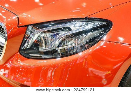 Headlight Of Modern Prestigious Car, Close Up