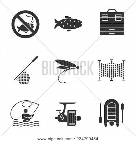 Fishing glyph icons set. No fishing sign, tackle box, landing nets, fly fishing, spinning reel, motor rubber boat. Silhouette symbols. Vector isolated illustration