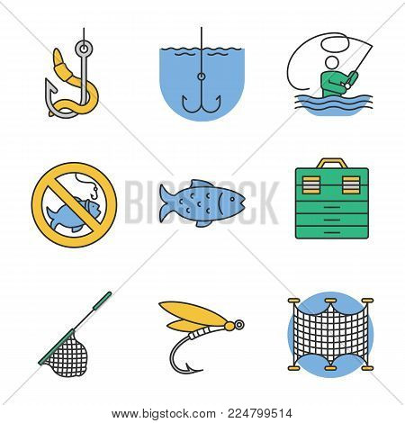 Fishing color icons set. No fishing sign, tackle box, landing nets, fly fishing, fish, live bait, fishhook. Isolated vector illustrations