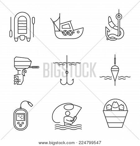 Fishing linear icons set. Outboard boat motor, fisherman, echo sounder, fishhook, float, lure, bucket with catch, live bait, motor boat. Thin line contour symbols. Isolated vector outline illustration