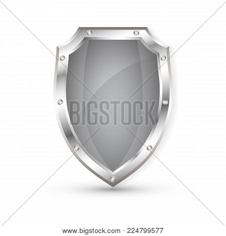 Empty metal shield, protection shield, vector illustration.