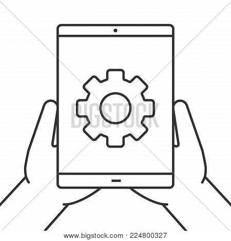 Hands holding tablet computer linear icon. Device settings. Thin line illustration. Tablet computer with cogwheel. Contour symbol. Vector isolated outline drawing