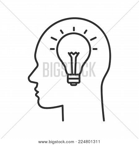 Human head with lightbulb inside linear icon. Creativity. Thin line illustration. New ideas. Imagination. Contour symbol. Vector isolated outline drawing